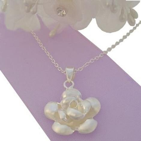 STERLING SILVER ROSE FLOWER CHARM NECKLACE
