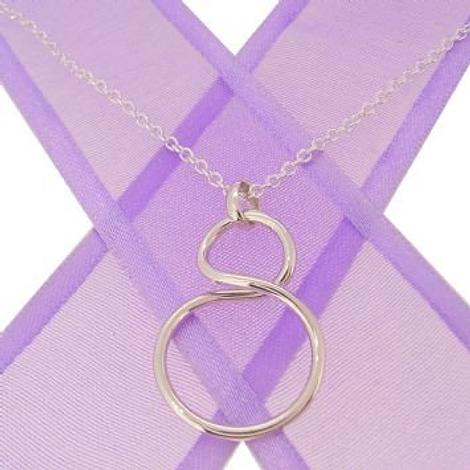 STERLING SILVER INFINITY SYMBOL DESIGN CHARM PENDANT NECKLACE 45CM