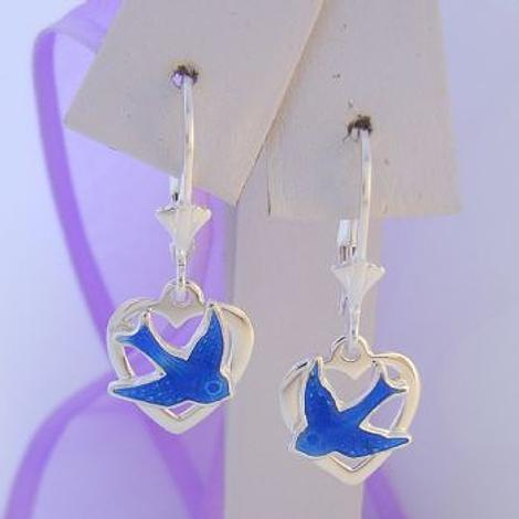 SAFETY HOOK EARRINGS STERLING SILVER BLUEBIRD HEART