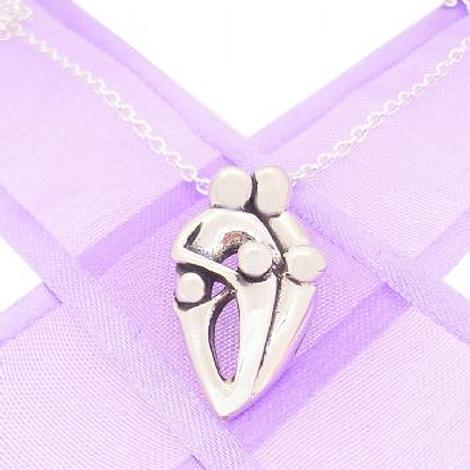 STERLING SILVER 13mm FAMILY OF FIVE PENDANT NECKLACE