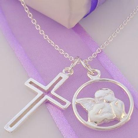 STERLING SILVER GUARDIAN ANGEL AND OPEN CROSS CHARM NECKLACE