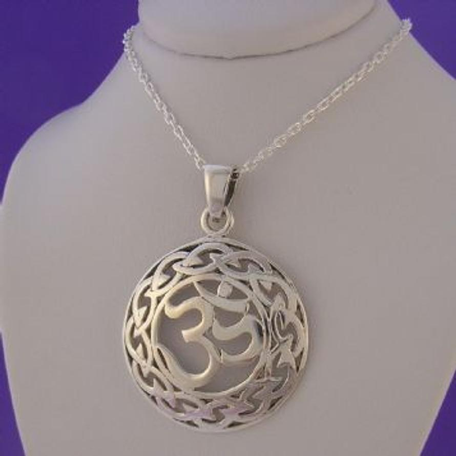 STERLING SILVER 26mm OM SOUND OF OF LIFE CHARM NECKLACE 45CM