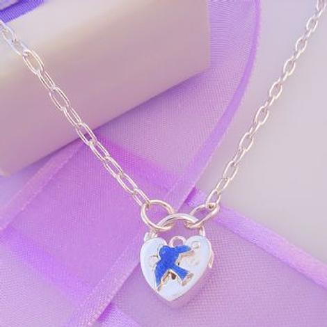 STERLING SILVER BLUEBIRD OF HAPPINESS PADLOCK CABLE NECKLACE 45CM