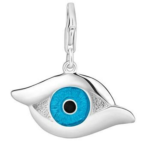 PASTICHE STERLING SILVER 29mm x 18mm ENAMEL EVIL EYE HOOKED ON CLIP CHARM PENDANT QC074BLU