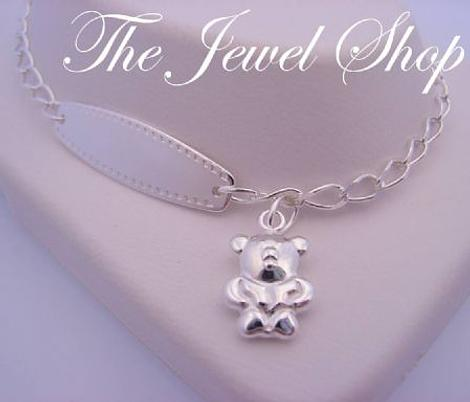 18cm ADJUSTABLE SIZE TEDDY BEAR CHARM STERLING SILVER BABY to ADULT IDENTITY BRACELET