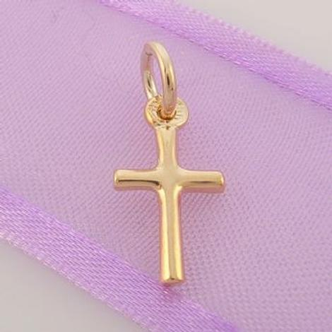 9CT GOLD SMALL UNISEX 8mm x 17mm CROSS CHARM PENDANT