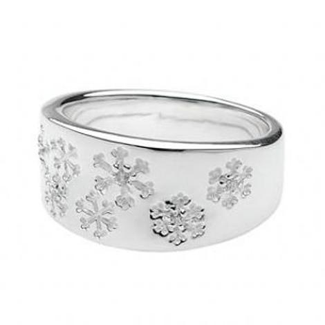 PASTICHE STERLING SILVER CZ SNOWFLAKE 10mm RING -R474CZ