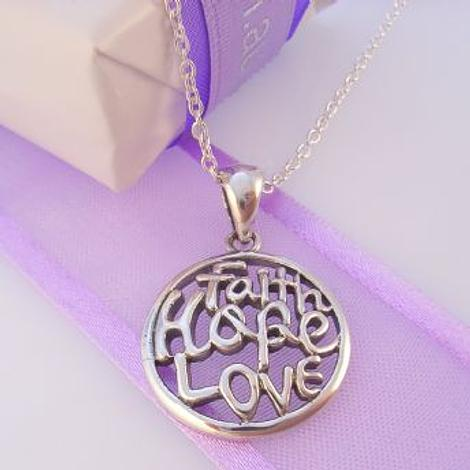 STERLING SILVER FAITH HOPE LOVE CHARM CABLE NECKLACE