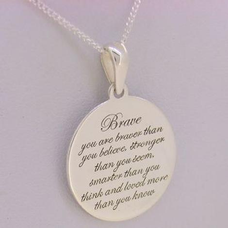 STERLING SILVER Message Coin Brave CHARM NECKLACE
