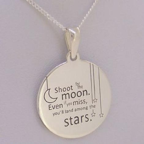 STERLING SILVER 20mm Message Coin Moon Stars CHARM NECKLACE