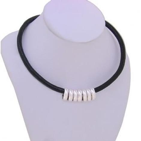 STERLING SILVER 7 SEVEN LUCKY RINGS CHARM LEATHER NECKLACE