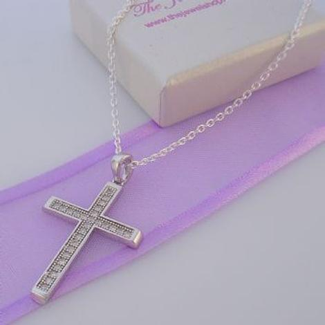 STERLING SILVER CZ CROSS PENDANT NECKLACE