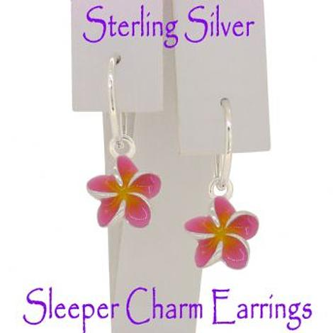 STERLING SILVER PASTICHE PINK FRANGIPANI FLOWER CHARM SLEEPER EARRINGS