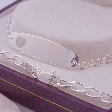 STERLING SILVER BABY to ADULT HEART IDENTITY BRACELET 16.5cm ADJUSTABLE SIZE CURB LINK