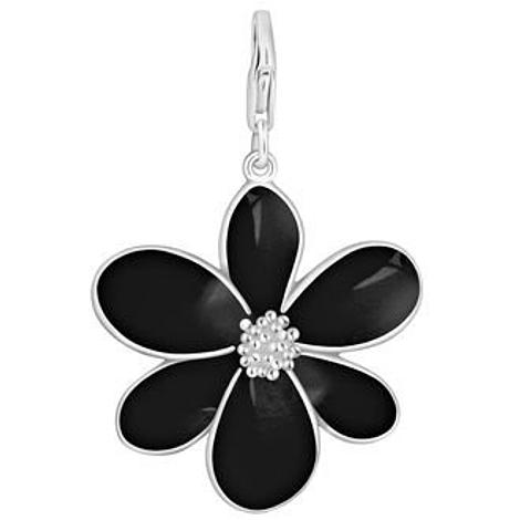 PASTICHE STERLING SILVER 28mm BLACK FLOWER HOOKED ON CLIP CHARM PENDANT QC153BK