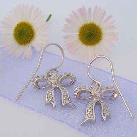 PASTICHE STERLING SILVER PAVE CZ 15mm BOW DESIGN EARRINGS