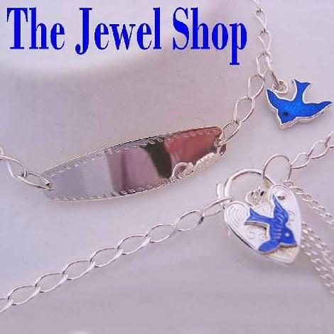 BLUEBIRD of HAPPINESS CHARM STERLING SILVER BABY to TEENAGER IDENTITY PADLOCK BRACELET