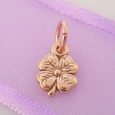 9CTROSE GOLD SMALL 7mm GOOD LUCK LUCKY FOUR LEAF CLOVER CHARM PENDANT -9R_HR925
