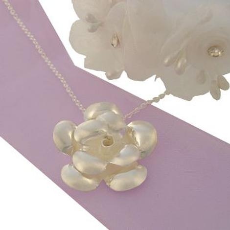 STERLING SILVER 24mm ROSE FLOWER CHARM NECKLACE