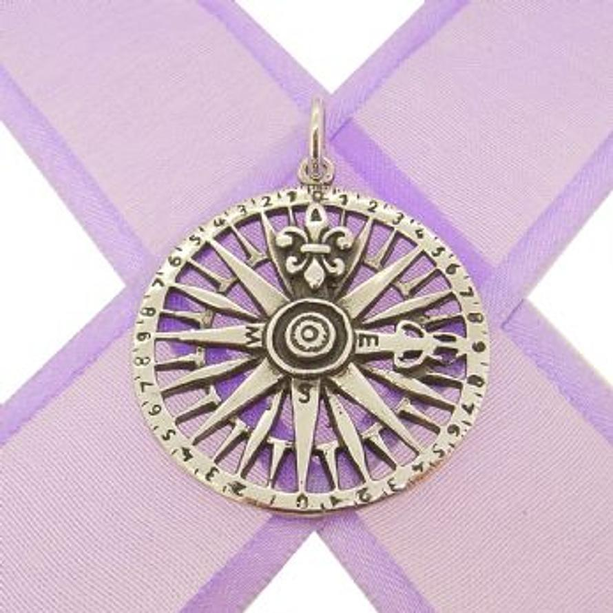 STERLING SILVER 28mm COMPASS CHARM PENDANT -CP-KB97-SS