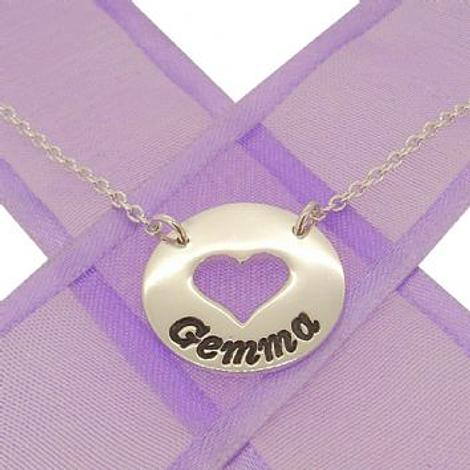 PERSONALISED CIRCLE HEART PENDANT NAME NECKLACE