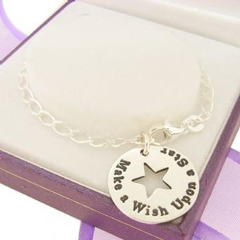 PERSONALISED CIRCLE STAR PENDANT Make a wish upon a star BRACELET