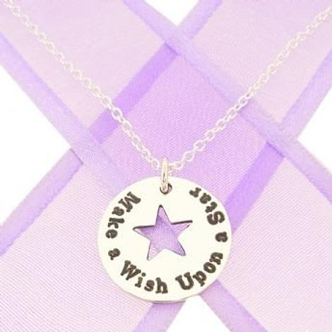 17mm PERSONALISED CIRCLE STAR PENDANT Make a wish upon a star NECKLACE