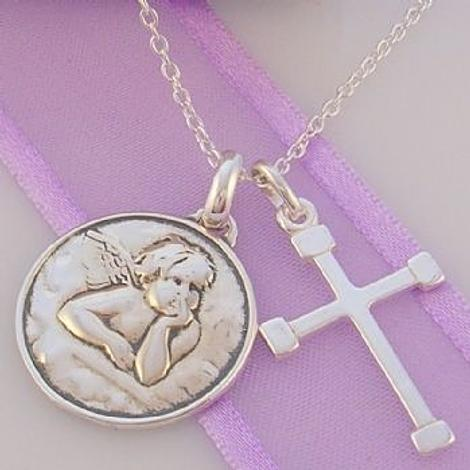 GUARDIAN ANGEL AND CROSS CHARM NECKLACE