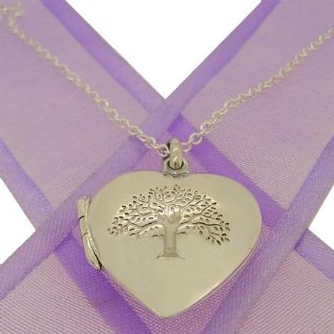 STERLING SILVER TREE OF LIFE PHOTO LOCKET NECKLACE