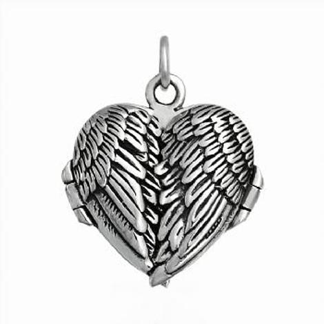 STERLING SILVER 23mm HEART ANGEL WINGS PHOTO LOCKET