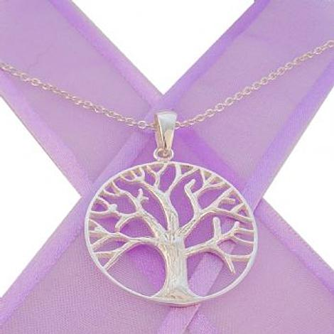 STERLING SILVER 28mm TREE OF LIFE NECKLACE