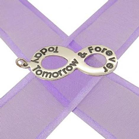 STERLING SILVER 30mm INFINITY SYMBOL TODAY TOMORROW & FOREVER DESIGN CHARM PENDANT