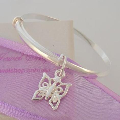 STERLING SILVER BABY CHILD 40mm-48mm EXPANDABLE BANGLE WITH BUTTERFLY CHARM