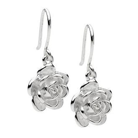 PASTICHE STERLING SILVER 20mm ROSE FLOWER CHARM EARRINGS