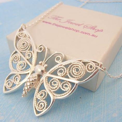 45CM STERLING SILVER BUTTERFLY NECKLACE CHARM PENDANT