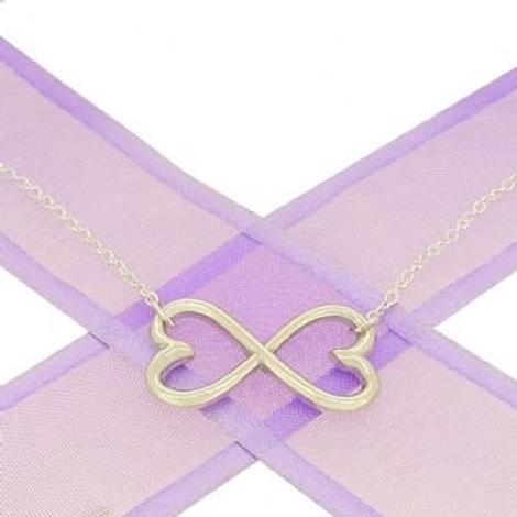 STERLING SILVER 25mm HEART INFINITY SYMBOL DESIGN CHARM PENDANT NECKLACE