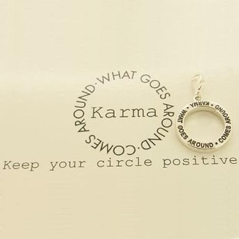 19mm KARMA CIRCLE CLIP ON CHARM What Goes Around Comes Around