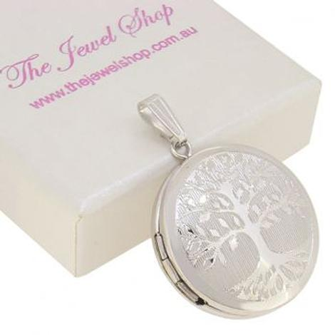 STERLING SILVER 22mm ROUND TREE OF LIFE PHOTO LOCKET