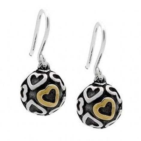 PASTICHE STERLING SILVER 10mm BALL WITH GOLD AND SILVER HEARTS DESIGN EARRINGS
