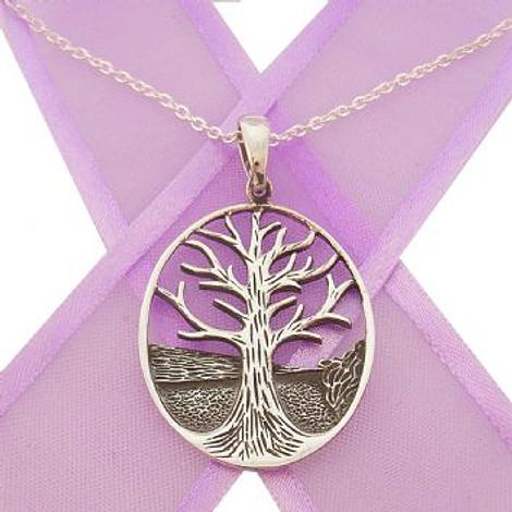 STERLING SILVER OVAL TREE OF LIFE NECKLACE