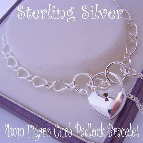 5g STERLING SILVER 4mm FIGARO HEART PUFFED HEART PADLOCK BRACELET