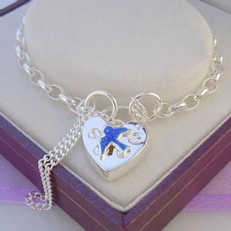 STERLING SILVER BLUEBIRD of HAPPINESS CHARM BELCHER PADLOCK BRACELET