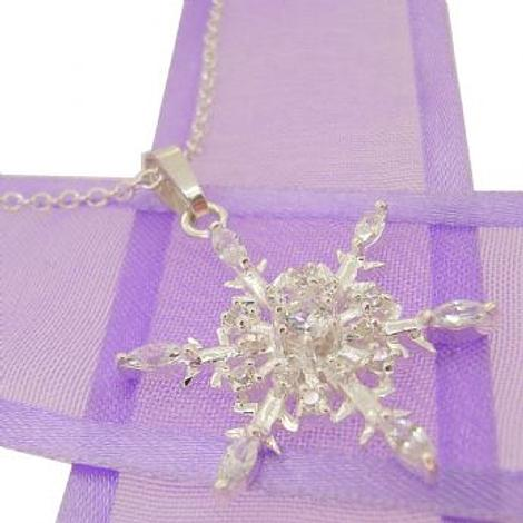 STERLING SILVER PASTICHE 25mm CZ SNOWFLAKE CABLE NECKLACE 45cm