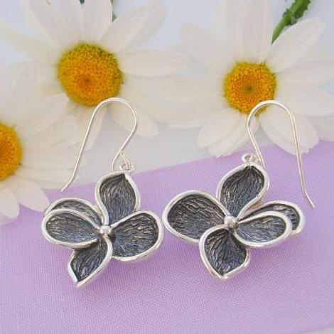 PASTICHE STERLING SILVER 22mm ANTIQUE GREY OXIDISED FLOWER CHARM EARRINGS