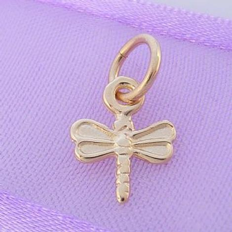 9CT GOLD SMALL 8mm x 11mm DRAGONFLY CHARM