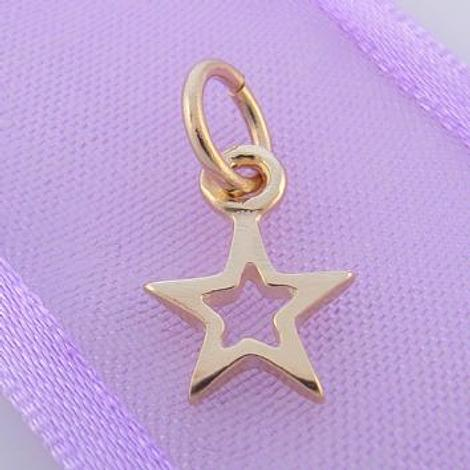 9CT GOLD SMALL OPEN 8mm LUCKY SHINY STAR CHARM