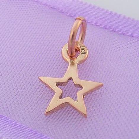 9CT ROSE GOLD SMALL OPEN 8mm LUCKY SHINY STAR CHARM