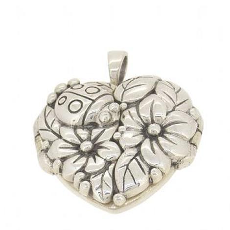 STERLING SILVER 22mm HEART LADYBUG FLOWER PHOTO LOCKET NECKLACE