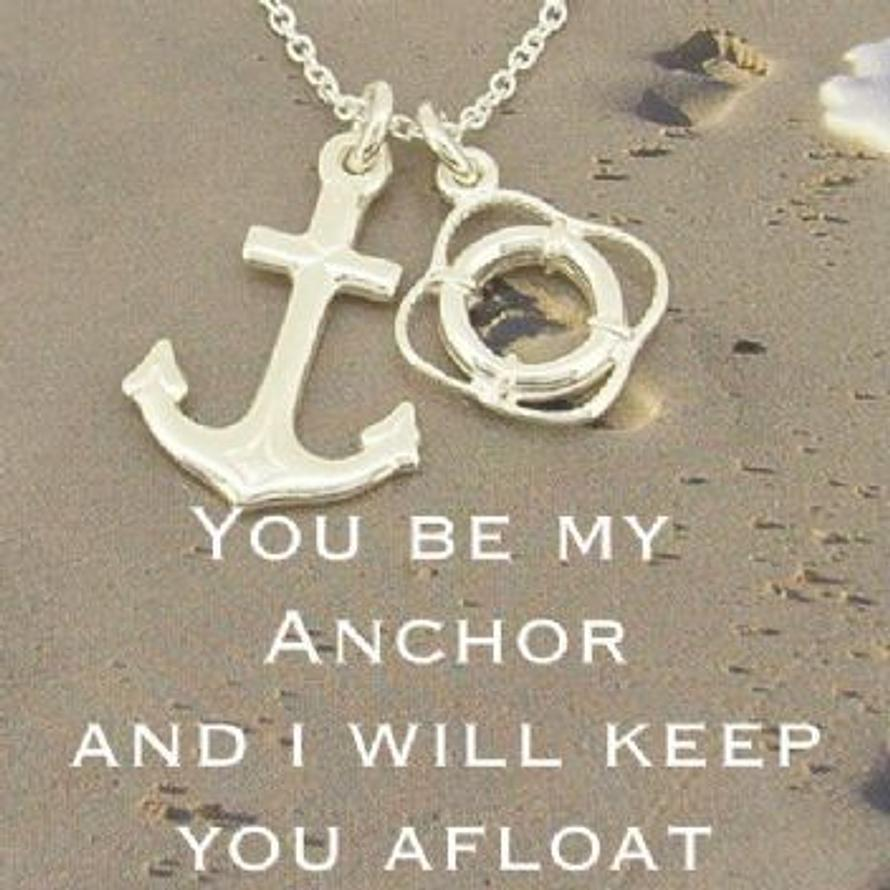 STERLING SILVER ANCHOR LIFEBOUY CHARM NECKLACE