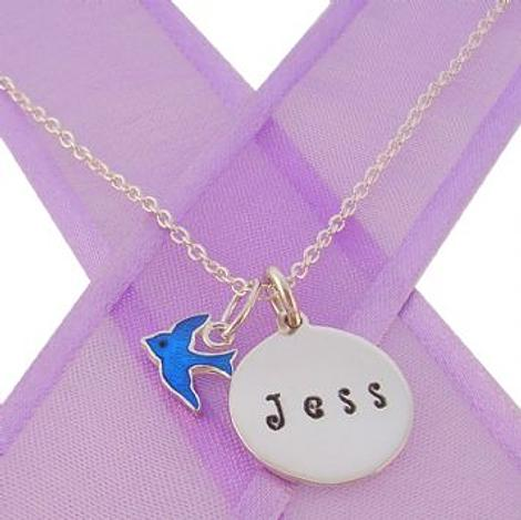 16mm PERSONALISED CIRCLE BLUEBIRD OF HAPPINESS NECKLACE